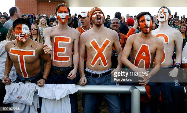 Texas Longhorns fans cheer against the Baylor Bears in the first quarter at McLane Stadium on December 5 2015 in Waco Texas