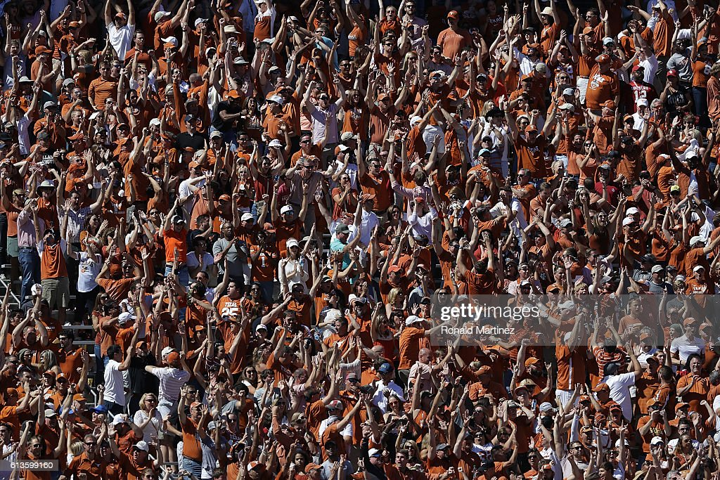 Texas Longhorns fans cheer during play against the Oklahoma Sooners at Cotton Bowl on October 8, 2016 in Dallas, Texas.