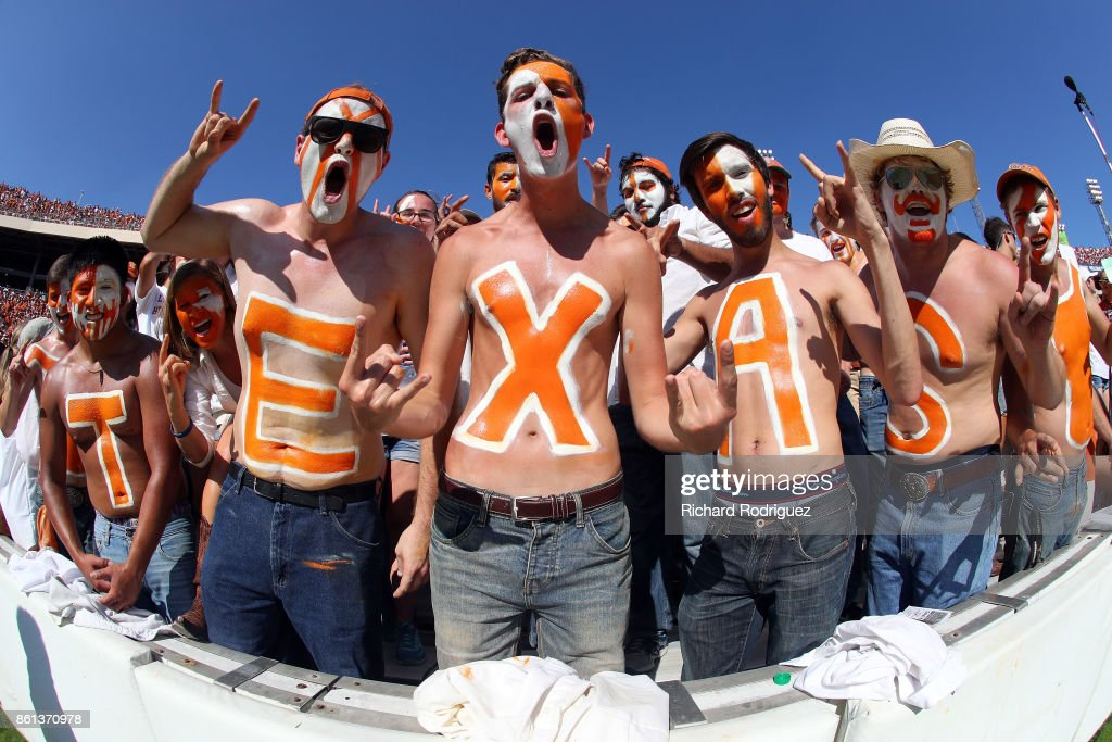 Texas Longhorns fans cheer during the game against the Oklahoma Sooners at Cotton Bowl on October 14, 2017 in Dallas, Texas.
