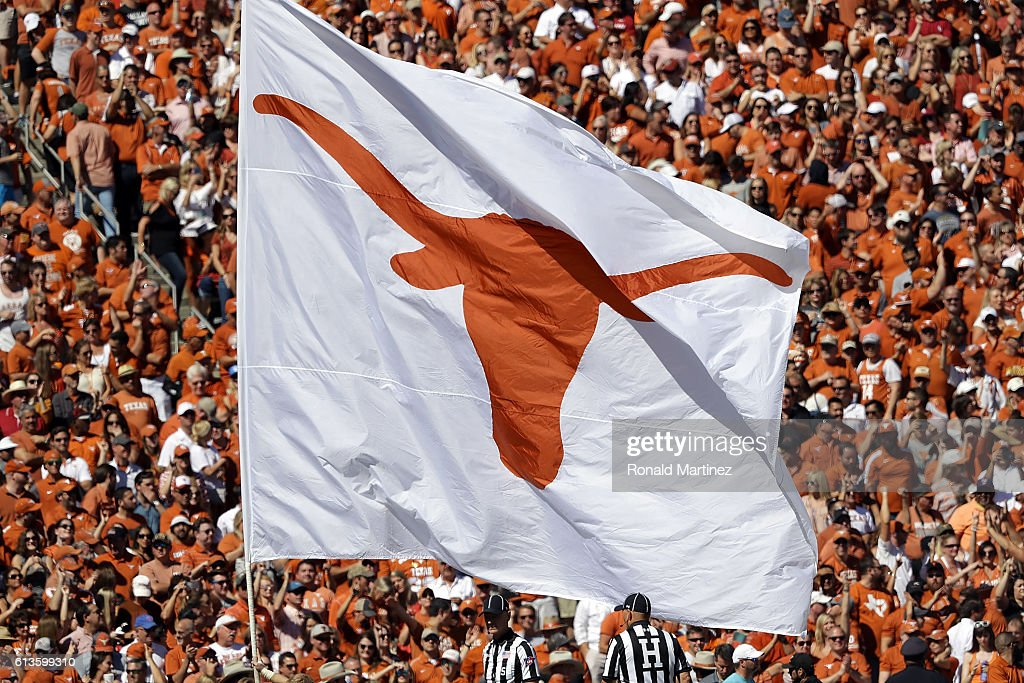 A Texas Longhorns flag at Cotton Bowl on October 8, 2016 in Dallas, Texas.