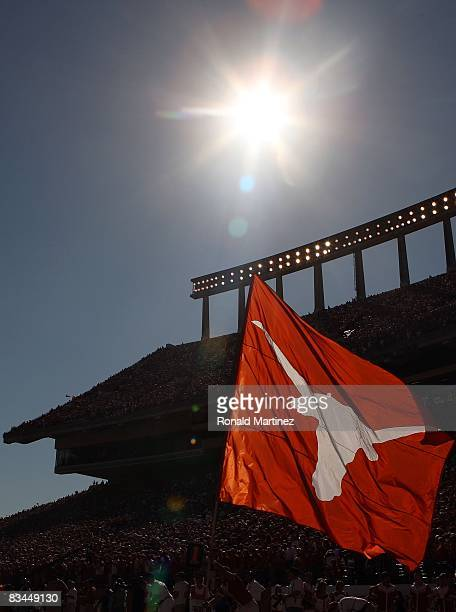 Texas Longhorns flag is waved during play against the Oklahoma State Cowboys at Texas Memorial Stadium on October 25, 2008 in Austin, Texas.