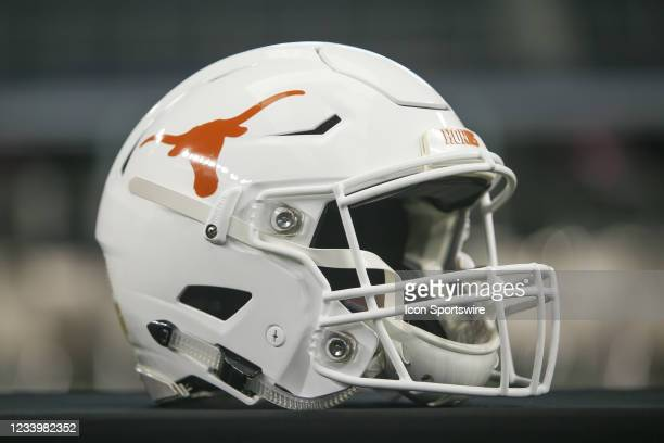 Texas Longhorns football helmet on display during the Big 12 Conference football media days on July 14, 2021 at AT&T Stadium in Arlington, TX.