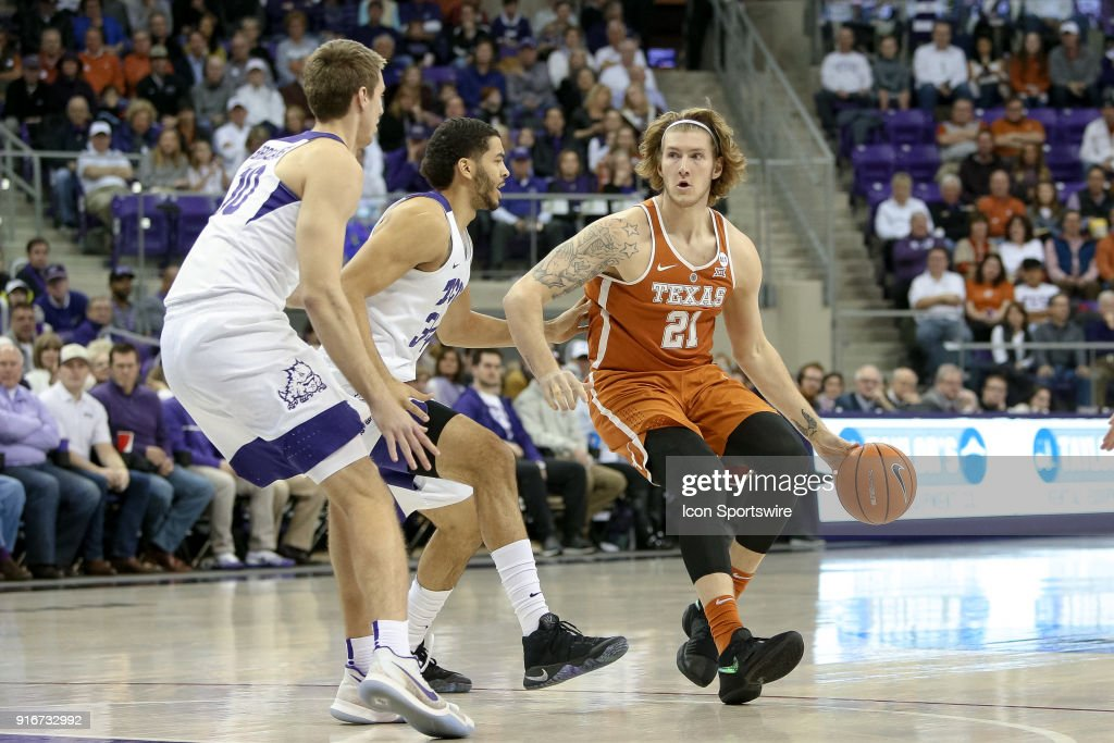 Texas Longhorns forward Dylan Osetkowski (21) handles the ball during the game between the Texas Longhorns and TCU Horned Frogs on February 10, 2018 at Ed & Rae Schollmaier Arena in Fort Worth, TX.