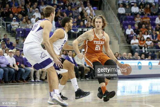 Texas Longhorns forward Dylan Osetkowski handles the ball during the game between the Texas Longhorns and TCU Horned Frogs on February 10 2018 at Ed...