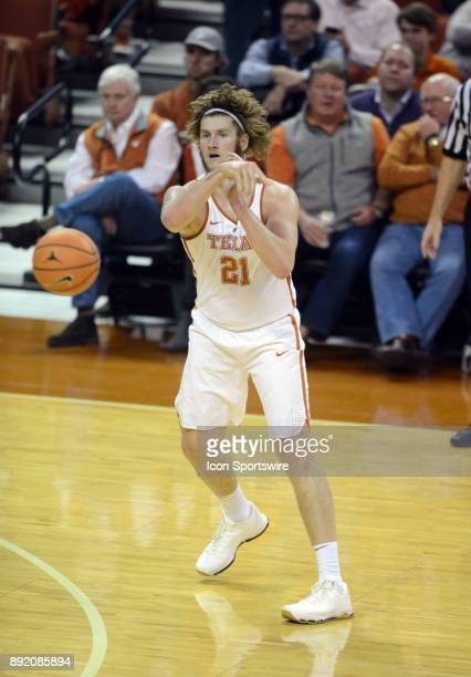 Texas Longhorns forward Dylan Osetkowski passes during 59 52 loss to the Michigan Wolverines on December 12 2017 at the Frank Erwin Center in Austin...