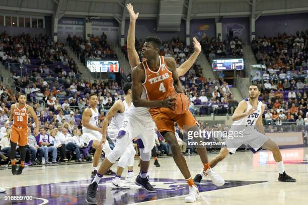 Texas Longhorns forward Mohamed Bamba drives to the basket during the game between the Texas Longhorns and TCU Horned Frogs on February 10 2018 at Ed...