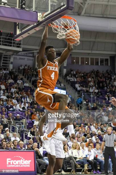Texas Longhorns forward Mohamed Bamba dunks the ball during the game between the Texas Longhorns and TCU Horned Frogs on February 10 2018 at Ed Rae...