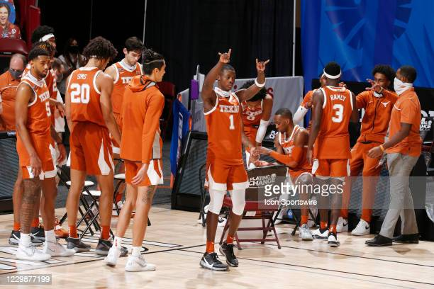 Texas Longhorns guard Andrew Jones reacts in player introductions against the Davidson Wildcats during the first half of the first round of the...