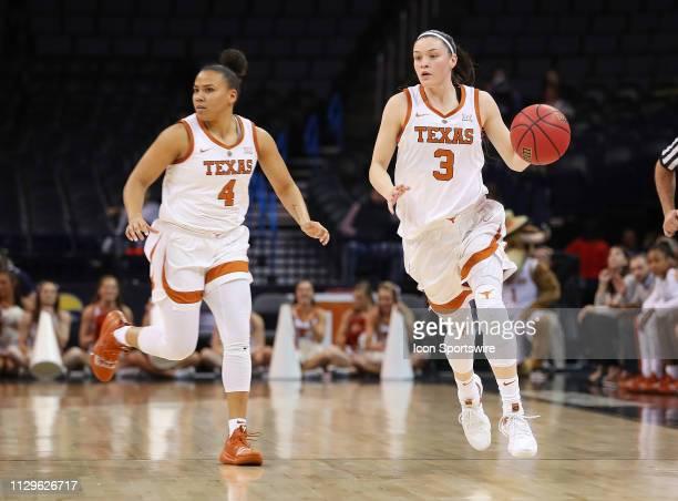 Texas Longhorns Guard Danni Williams and Texas Longhorns Guard Destiny Littleton during the BIG12 Women's basketball tournament between the Texas...