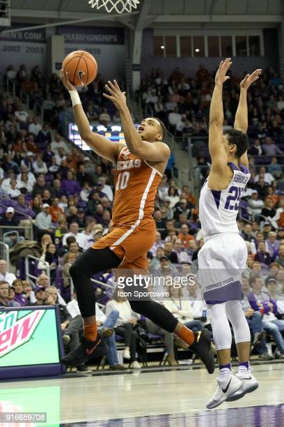 Texas Longhorns guard Eric Davis Jr drives for a layup during the game between the Texas Longhorns and TCU Horned Frogs on February 10 2018 at Ed Rae...
