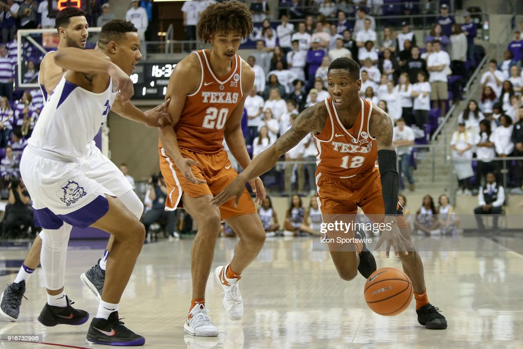 Texas Longhorns guard Kerwin Roach II (12) drives to the basket during the game between the Texas Longhorns and TCU Horned Frogs on February 10, 2018 at Ed & Rae Schollmaier Arena in Fort Worth, TX.
