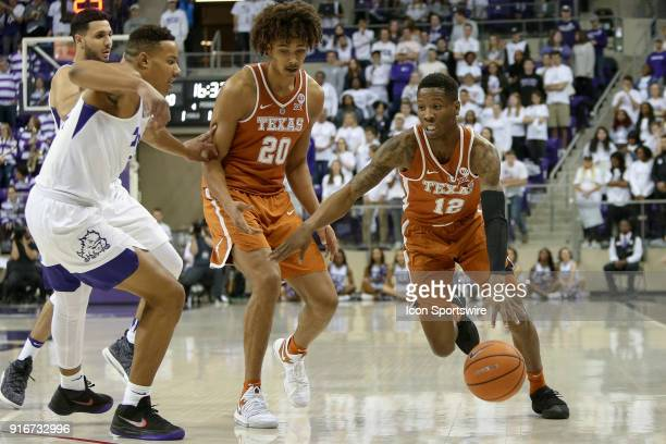 Texas Longhorns guard Kerwin Roach II drives to the basket during the game between the Texas Longhorns and TCU Horned Frogs on February 10 2018 at Ed...
