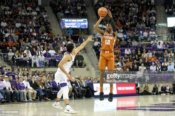 Texas Longhorns guard Kerwin Roach II shoots a three point shot during the game between the Texas Longhorns and TCU Horned Frogs on February 10 2018...