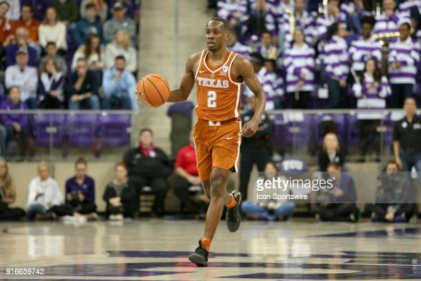 Texas Longhorns guard Matt Coleman brings the ball up the court during the game between the Texas Longhorns and TCU Horned Frogs on February 10 2018...