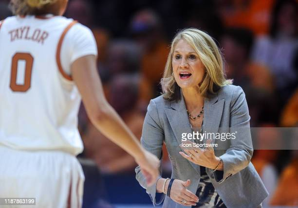 Texas Longhorns head coach Karen Aston coaching during a college basketball game between the Tennessee Lady Vols and Texas Longhorns on December 8 at...