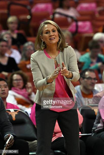Texas Longhorns head coach Karen Aston yells instructions during Big XII game against the West Virginia Mountaineers on February 17 at the Frank...