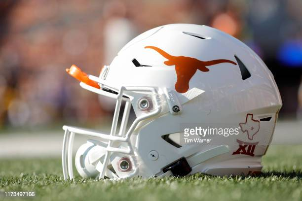 Texas Longhorns helmet is seen before the game against the LSU Tigers at Darrell K RoyalTexas Memorial Stadium on September 7 2019 in Austin Texas