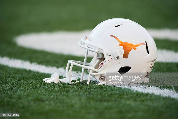 Texas Longhorns helmet on the field before kickoff against the Rice Owls on September 12 2015 at Darrell K RoyalTexas Memorial Stadium in Austin Texas
