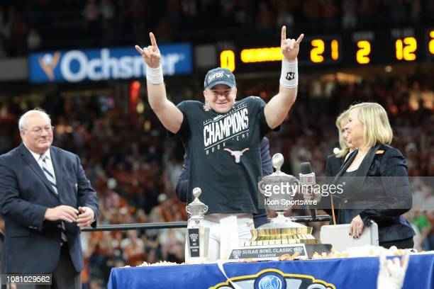 Texas Longhorns quarterback Sam Ehlinger during the awards ceremony at the Allstate Sugar Bowl game between the Georgia Bulldogs and the Texas...