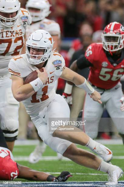 Texas Longhorns quarterback Sam Ehlinger keeps during the Allstate Sugar Bowl game between the Georgia Bulldogs and the Texas Longhorns on January 1...