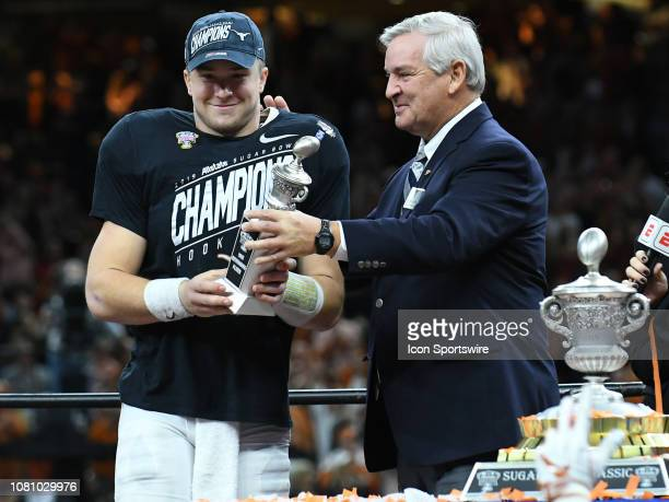 Texas Longhorns Quarterback Sam Ehlinger receives the Player of the Game trophy after the Allstate Sugar Bowl between the Texas Longhorns and the...