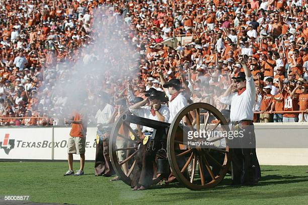 Texas Longhorns supporters fire a cannon during the game against the Colorado Buffaloes at Darrell K RoyalTexas Memorial Stadium on October 15 2005...