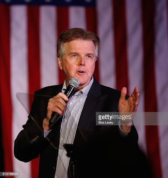 Texas Lt Govenor Dan Patrick speaks at a watch party for Republican presidential candidate Sen Ted Cruz on March 15 2016 in Houston Texas Cruz is in...