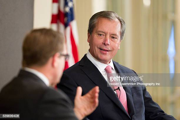 Texas Lt Governor and US Senate candidate David Dewhurst answers questions from Texas Tribune editor Evan Smith at a business event in Austin on...