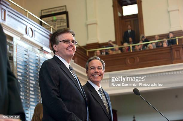 Texas Lt Governor Dan Patrick l and House Speaker Joe Straus in the chamber as Gov Greg Abbott gives his first State of the State speech since...
