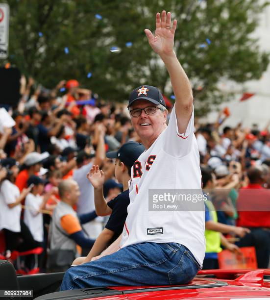 Texas LT Governor Dan Patrick waves to the crowd during the Houston Astros Victory Parade on November 3 2017 in Houston Texas The Astros defeated the...