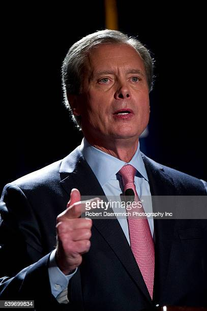 Texas Lt Governor David Dewhurst makes a point during an Austin debate with the other Republican candidates vying for US Senate Four challengers are...