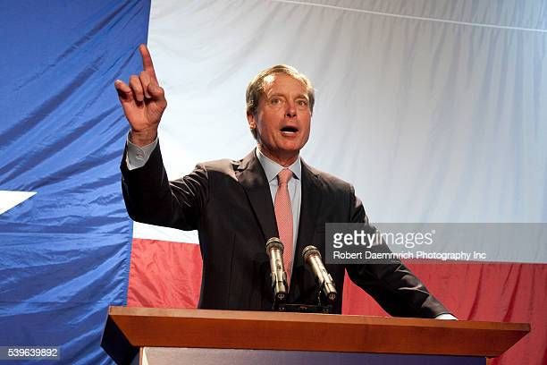Texas Lt Governor David Dewhurst speaks at the Republican Victory 2010 rally held election night at the Texas Disposal Systems Exotic Game Ranch in...