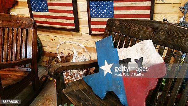 Texas Map On Wooden Bench
