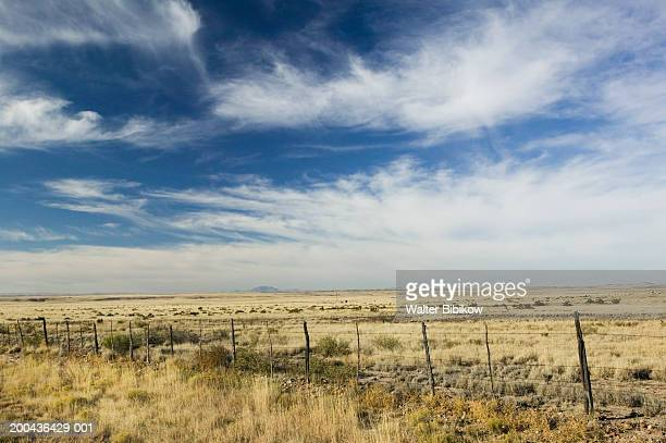 usa, texas, marfa, fence across ranch land - texas stock pictures, royalty-free photos & images
