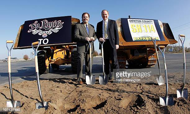 Texas Motor Speedway President Eddie Gossage and Denton County Commissioner Andy Eads break ground on a new State Highway 114 expansion project at...