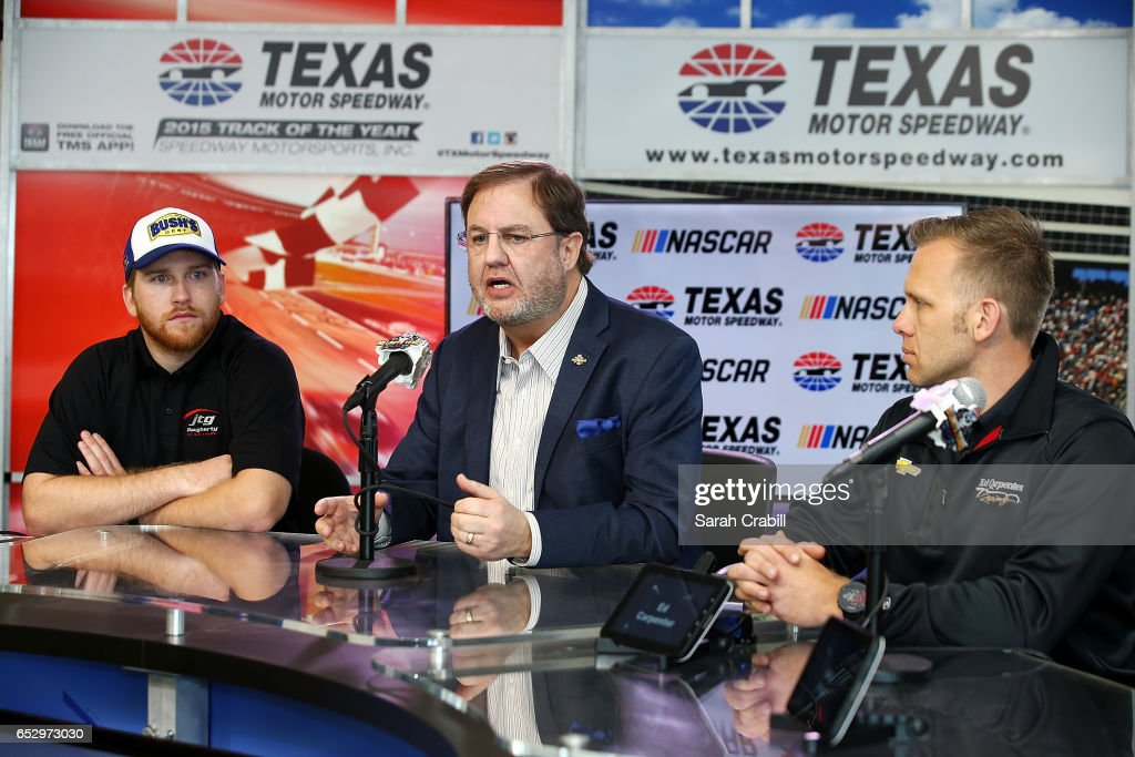 Texas Motor Speedway President, Eddie Gossage, Monster Energy NASCAR Cup Series driver for JTG Daugherty Racing, Chris Buescher and Verizon IndyCar Series driver and owner for Ed Carpenter Racing, Ed Carpenter, speak to the press during the Texas Motor Speedway Track Renovation Unveiling at Texas Motor Speedway on March 13, 2017 in Fort Worth, Texas.