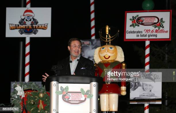 Texas motor Speedway President Eddie Gossage speaks at the Speedway Children's CharitiesTexas Chapter Grant Ceremony and Tree Lighting at Texas Motor...