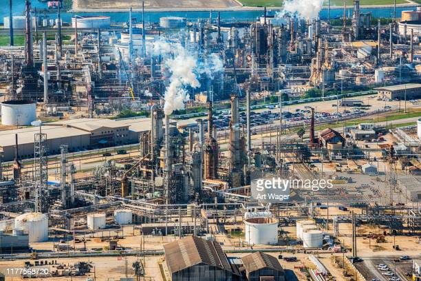 texas oil refinery aerial - oil field stock pictures, royalty-free photos & images