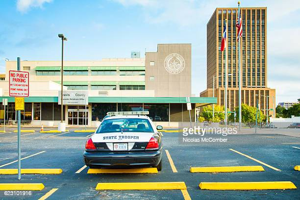 Texas police station with parked trooper car
