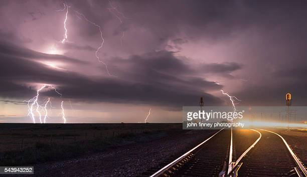 texas railroad lightning. lightning through a super-cell. texas, usa - country texas lightning stock pictures, royalty-free photos & images