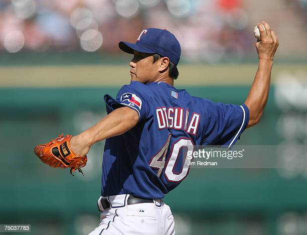 Texas Ranger Akinori Otsuka pitching in the game against the Houston Astros at the Ranger Ball Park in Arlington Texas on Saturday June 23 2007 The...