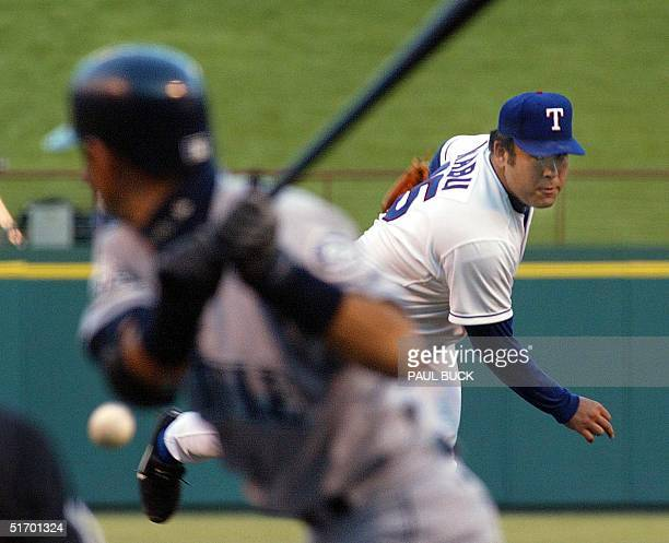 Texas Ranger starting pitcher Hideki Irabu delivers a pitch to Ichiro Suzuki of the Seattle Mariners in the first inning at the Ballpark in Arlington...