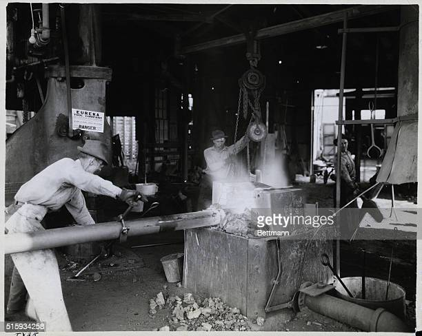 Texas Ranger Welding a new drill head Undated photograph