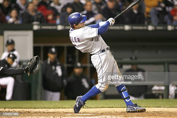 Texas Rangers' 2nd Baseman, Ian Kinsler hits a sacrifice fly to drive Sammy Sosa during their game versus the Chicago White Sox April 19, 2007 at...