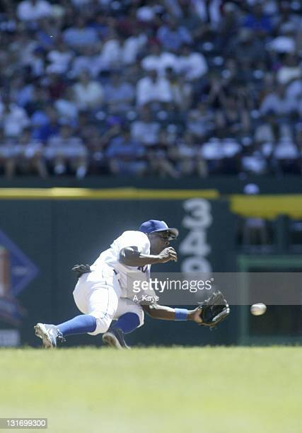 Texas Rangers Alfonso Soriano makes an error which allows a run during the the 67 loss to the Orioles at Ameriquest Stadium in Arlington Texas on...