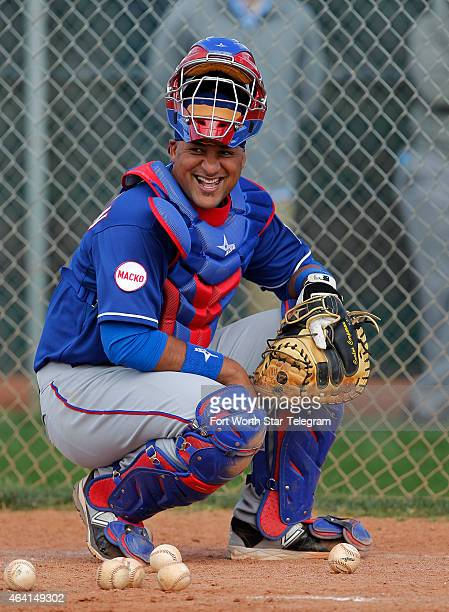 Texas Rangers catcher Carlos Corporan takes part in a training camp workout in Surprise Az on Sunday Feb 22 2015