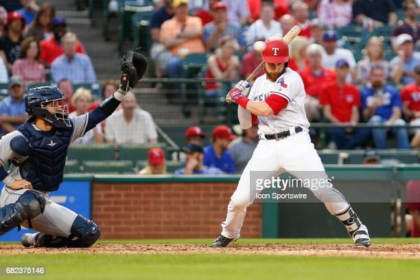 Texas Rangers Catcher Jonathan Lucroy barely gets out of the way of a high pitch during the MLB game between the San Diego Padres and Texas Rangers...