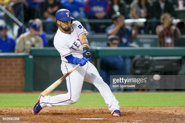 Texas Rangers Catcher Robinson Chirinos gets an RBI hit during the game between the Los Angeles Angels and Texas Rangers on April 9 2018 at Globe...