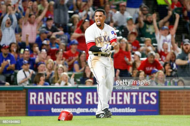 Texas Rangers Center field Carlos Gomez celebrates after scoring the tying run during the MLB game between the Oakland Athletics and Texas Rangers on...