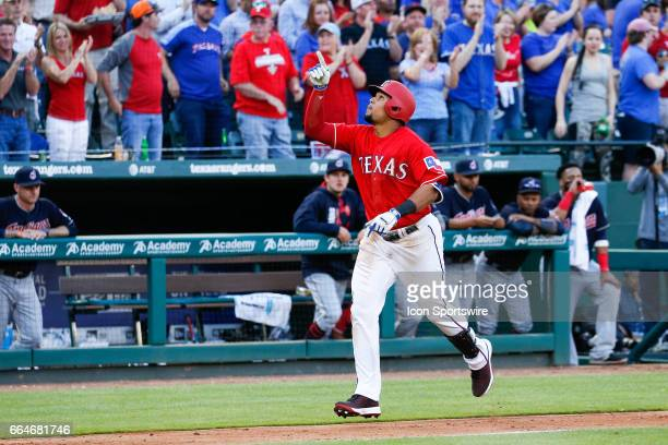 Texas Rangers Center field Carlos Gomez hits a home run during the MLB opening day baseball game between the Texas Rangers and Cleveland Indians on...